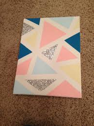DIY Canvas 1 Tape Geometric Shapes With Painters 2 Paint Inside Them Acrylic 3 For The Glitter Use Mod Podge Base An Then Add