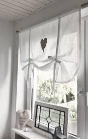gardinen raffrollo gardine herz leinen grau ein