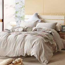 Beige plaid duvet cover sets for single or double bed  Cotton