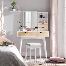 vasagle schminktisch rdt32k kosmetiktisch mit spiegel weiß naturfarben kaufen otto
