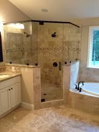 Large Master Bathroom Layout Ideas by Frameless Corner Glass Shower Dual Shower Heads Garden Tub