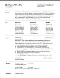 Civil Engineering CV Template Structural Engineer Highway Design Construction