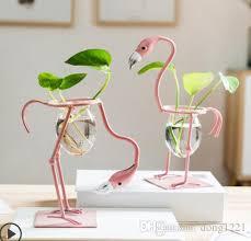 großhandel kleine frische kreative flamingo hydroponic container vase dekoration wohnaccessoires wohnzimmer schlafzimmer schreibtisch möbel