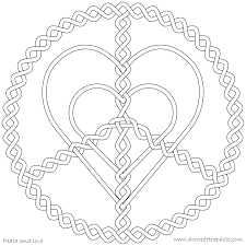 Free Printable Love Coloring Pages For Adults Peace Heart Mandala