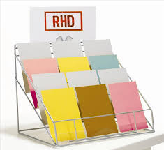 RDR11 Greeting Card Display Stand 4 Pocket Counter Top Displays Redhotdisplays Creative Flat Accent White Steel