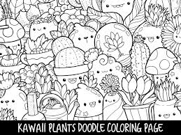 Japanese Garden Coloring Pages Inspirational Plants Doodle Page Printable Cute Kawaii Of Gallery