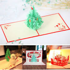 Image Is Loading Handmade 3D Pop Up Merry Christmas Greeting Holiday