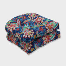 2pk Paisley Party Wicker Outdoor Seat Cushions Blue - Pillow ...