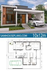 104 Contemporary House Design Plans Home Plan 10x12m 3 Bedrooms Free Downloads Small Simple Bungalow