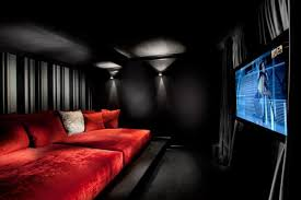 Red Sofa Black Wall Paint Colors Contemporary Home Theater Media Room Designs