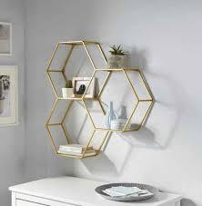 leonique wandregal lenia dekoregal wanddeko aus metall bestehend aus drei sechseckigen elementen