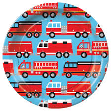 100 Fire Truck Plates Fighter Birthday Party Supplies Theme Party Packs