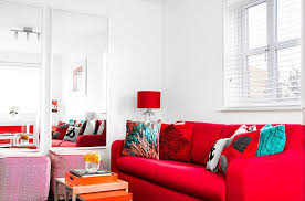 Red Living Room Furniture Decorating Ideas Sofa Square Pink Fabric Ottoman