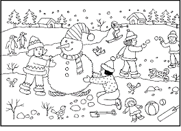 Activity In Winter Fun Coloring Picture For Kids