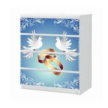 set möbelaufkleber für ikea kommode malm 4 fächer schubladen liebe ringe ehe hochzeit taube tauben blau weiß schlafzimmer aufkleber möbelfolie