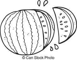black and white cartoon watermelon