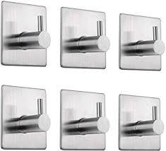 ekkong 6 stück handtuchhaken selbstklebend bademantelhaken haken edelstahl gebürstet wandhaken edelstahl rostfrei bad und küche handtuchhalter