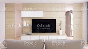 moderne und minimalistische einrichtung wohnzimmer gemütliche zimmer und einfachen komfort weiß tv mit grauen sofa an natürlichen holz wand und boden