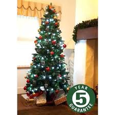 Slim Tree Best Artificial Mium Full Tips 7 Ft Lit Skinny Pre Christmas Lowes