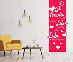 banner wandtattoo mit 3d effekt spruch familie liebe leben blumenranke wand aufkleber wohnzimmer sticker 11z009