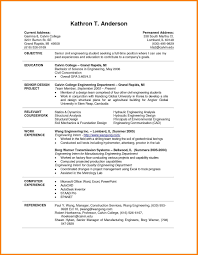 Resume Samples For College Students Seeking Internships New Examples Template