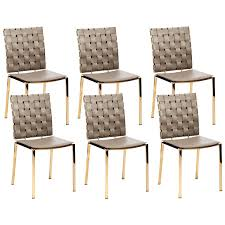 Set Of 6 Modern Woven Leather Dining Chairs In Taupe With ...