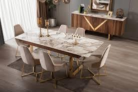 lake esszimmertisch venus gold mit 6 stühlen