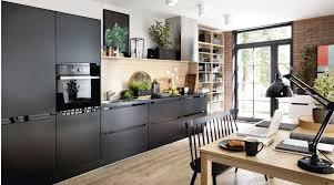 küchenzeile einbauküche schwarz matt fronten erweiterbar