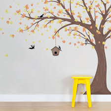 Wall Mural Decals Tree by Printed Windy Tree With Birdhouse Wall Decal