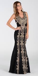 poly usa 7480 lace appliques rhinestones prom dress black gold