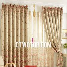 Rustic Floral Beige Living Room Curtains For Blackout Style