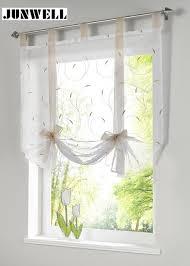 rideau de cuisine en store européenne broderie style cravate up fenêtre rideau
