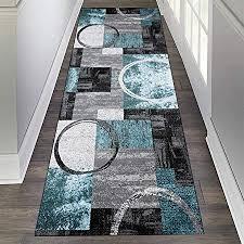 zvezvi teppich läufer flur korridor schlafzimmer küche grau und blau 80 300cm rutschfest waschbar bunter modern kücheläufer teppichläufer polyester