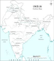 World River Map Outline Geography Travel With Political India Blank Printable