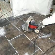 polishing floor tiles grey limestone floor during cleaning