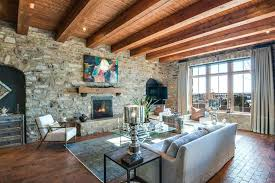 Brick And Stone Fireplaces Rustic Living Room With Exposed Beam Carpet Fireplace Floors High
