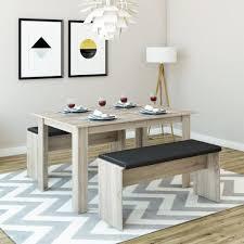 tischgruppe eiche sonoma 140 x 90 cm 4 bis 6 personen esszimmer esstisch küche sitzgruppe tisch bank bänke flexibel verstaubar