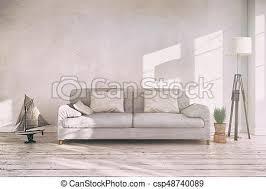3d render innenraum des skandinavischen wohnzimmers