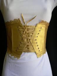 metallic gold pink red fabric elastic back corset front tie waist