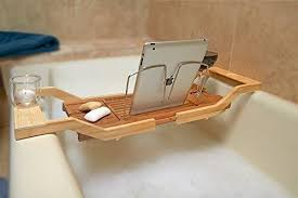 Bamboo Bathtub Caddy With Reading Rack by Luxe Expandable Bamboo Bath Tray Caddy With Reading Rack And Glass