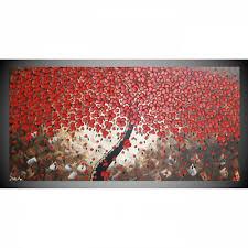 acrylbild auf leinwand bild abstrakt baum mit roten