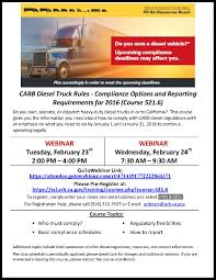 Upcoming CARB Diesel Regulation Training - San Diego Regional Clean ... Offroad Ag Tractor And Mobile Equipment Inuse Regulation Ttsi Cummins Westport Begin Operating Natgas Trucks At Calif Qa What Are The California Regulations For A Commercial Motor Upstream Methane Reductions Crucial To Future Of Natural Gas Trucks Air Rources Board Diesel Truck Regulations Ca Insurance Liability Cargo 800 49820 Tesla Model S Firetruck Crash In We Know So Far Final Regulation Order For Mobile Cargo Handling Local Truckers Put Brakes On New Federal Abc30com Ata Challenges Californias Meal Rest Break Rules Petion Carb Is Requiring Stricter Haul Produce