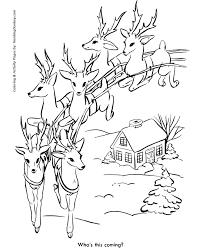 Santas Reindeer In Flight Coloring Page