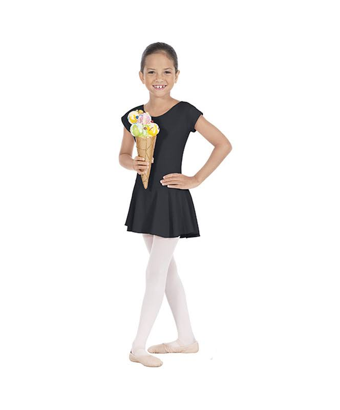 Eurotard Girls Bow Back Leotard with Skirt, Size: Small, Black