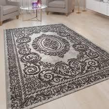 kurzflor wohnzimmer teppich 3 d optik ornamente bordüre orient muster in grau