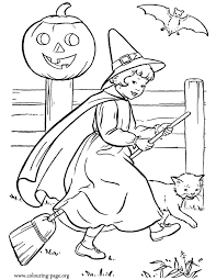 Here A Pretty Little Girl Is Dressed As Witch And Riding Her Broom Enjoy The Halloween To Coloring This Amazing Picture Have Fun