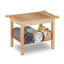 relaxdays badezimmer bank bambus sitzbank bad ablage badhocker holz hxbxt 45 x 66 x 40 cm badezimmermöbel natur