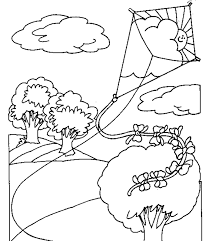 Coloring Page Pages Kite Flying For Kids Kindergarten Kitty Chinese Kites
