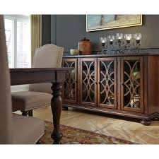 Dining Room Server With Traditional Glass Wood Grille Doors By