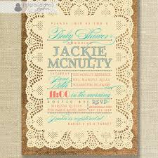 Lace Burlap Baby Shower Invitation Vintage Rustic Coral Turquoise Girl Boy Gender Neutral